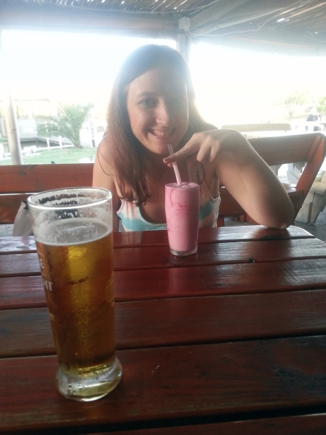 With the last box packed, we headed down to the Driftwood Cafe. They were closed but took pity on our sad faces. Here's my strawberry shake and Husband's Castle Draught