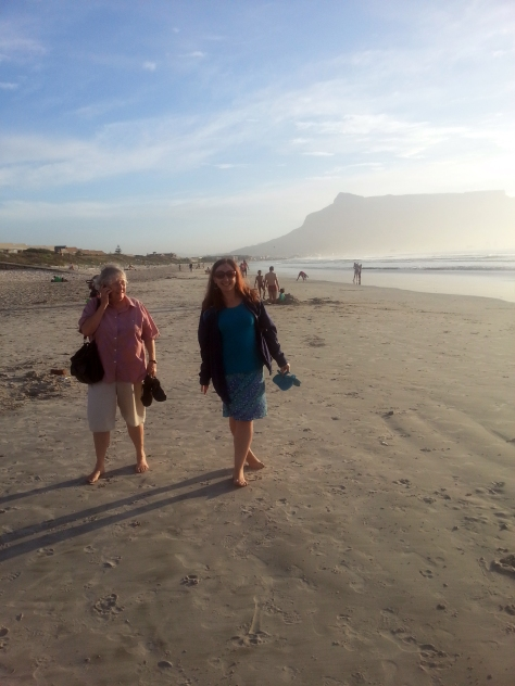 Mother and me on the beach - looks like I have two feet sprouting from one leg, teehee