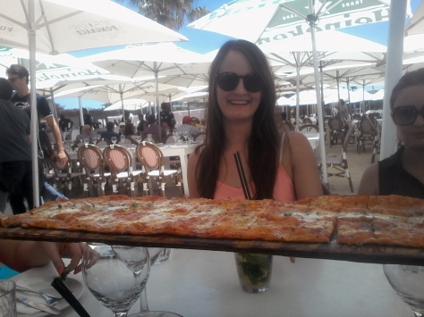 Starters are served! We had a few of these long pizzas per table, as well as a fishy salad option