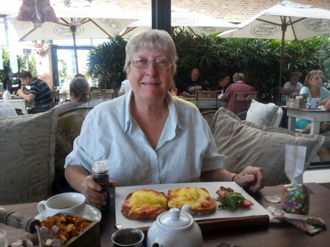 Mother was pleased with her salmon eggs benedict