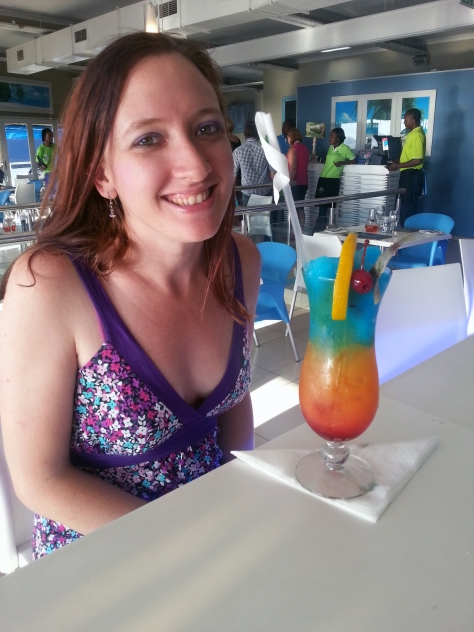 Much, MUCH later that day - this is the rainbow-coloured 'Catch23' at Catch22. Pretty, but I preferred the vanilla flavour of Husband's Robben Island Ice Tea
