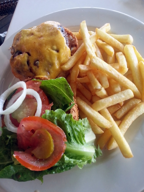 Wonderful burger and chips at Captain's Kitchen, Eden on the Bay. You can substitute the chips for salad