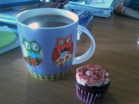 My owlie mug looks quite jealous that I got to eat this mini red velvet cupcake to celebrate a colleague's birthday