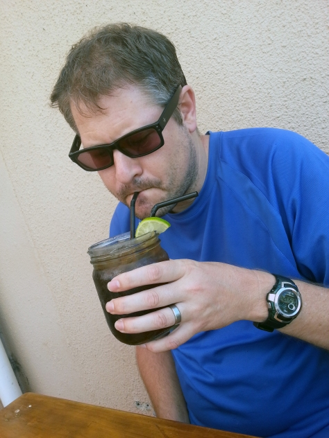 Husband had a jam jar of Long Island Iced Tea, I had a peppermint crisp milkshake.