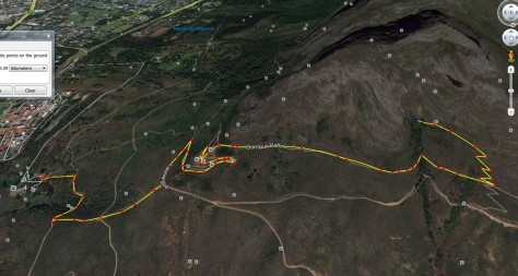 Screenshot from Google Earth of the path we followed on our hike - we started at Rhodes Memorial and took a few detours. About 7km in total, and rather steep uphills in places... similar to hiking up Table Mountain along the Platteklip Gorge
