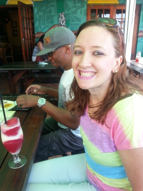 No visit to Jamaica Me Crazy is complete without a Volcano - pina colada swirled with strawberry daquiri - and just R18 all day on Saturdays!