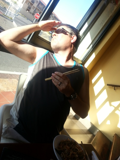 Husband thoroughly enjoyed his seafood noodles, too, despite the blinding sunlight
