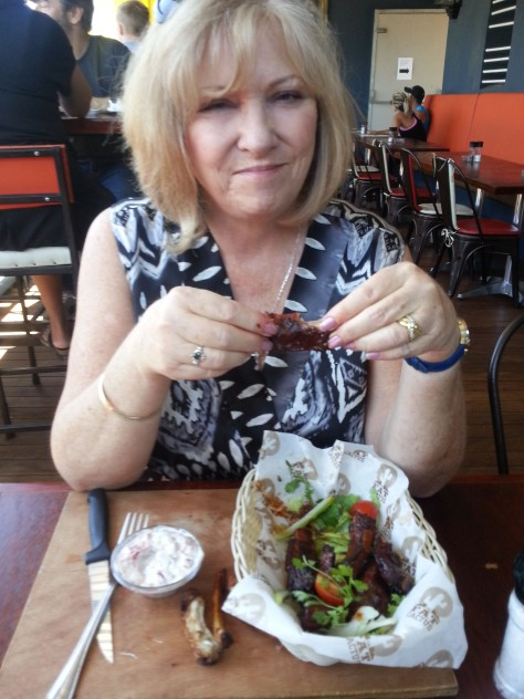 On Thursday, my parents treated Husband to a 'last day of leave' lunch. Here is lovely Mum with her rib basket.