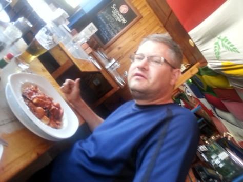 Husband's Fettuccini Marinara, chock-full of fishy things