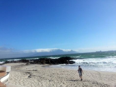 Husband heading to his favourite swimming spot, once we'd been home for a nap so the food had time to digest