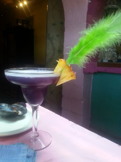 Husband's cocktail came with green feather and juicy pineapple slice. Was called 'The Voodoo', hence the dark purple colour. I had the most delicious Pina Colada - sadly no photo to show you.