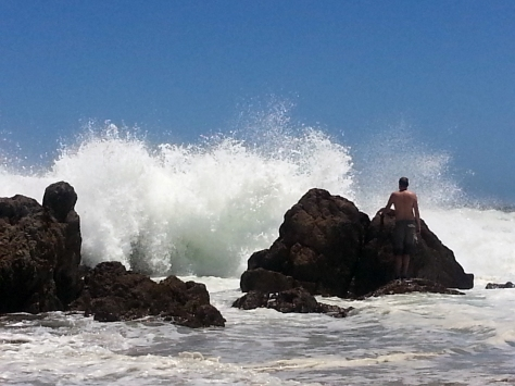 Followed by this monster wave. He jumped in for a proper swim after this anyway, so didn't matter how wet he was.