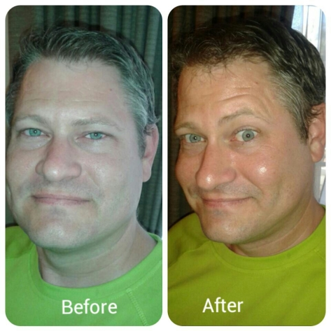 Here's a comparison of Husband, before and after the demonstration, which included cleanser, toner, moisturiser, minty mud mask and eye gel. You decide whether the difference is due to lighting or the products' super powers. If you're interested in attending a pamper party like this, contact Miriam on 083 226 2109 - - say I sent you! She's lovely :)