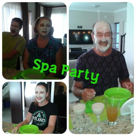 One of my former schoolmates was down in Cape Town visiting her sister for the holidays, and just so happened to be demonstrating the new range of Herbalife Skin products - me, Husband, mum and dad just so happened to be free to attend said demonstration. Here we all are wearing the minty mud mask...