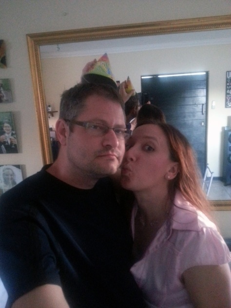 But he let me do the standard 'kiss on cheek while wearing the birthday hat' pose, so wasn't too glum