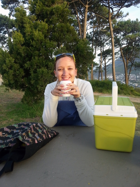Yes, it had been a hot day, but the evening - especially on top of Signal Hill at dusk - was decidedly chilly. Here I am sipping a cup of coffee while wrapped in a blankie and wishing I had on a scarf, ear muffs, etc etc...