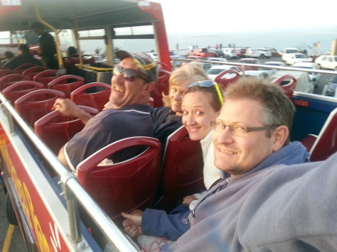 Dad, Mum, Husband and me on top of the red sightseeing bus. Highly recommended at just R100 for the night tour, with earphones so you get to hear all sorts of interesting pieces about haunted hospitals and the like