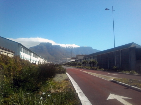 Later that day, on my trip home, I snapped this shot - it's a sight you only get to see from the MyCiti bus lane in Paarden Eiland. Gorgeous cloud-covered mountain