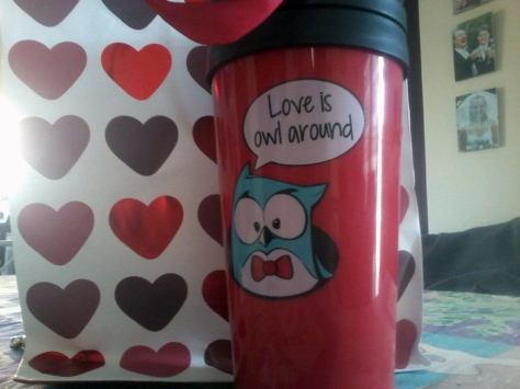 Of course we played Bad Cupid - so pleased with what I ended up with - an owlie travel mug, just perfect for someone who loves coffee and owls