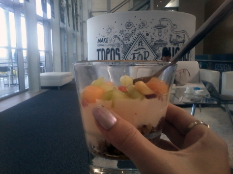 Breakfast in the media lounge. Granola, yoghurt, fruit, and non-pictured coffee, of course
