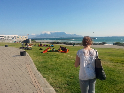 Gazing out at all the kite surfers at Eden on the Bay - they really love the windy conditions