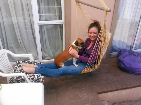 When we got home, Husband finally had time to hang my hammock chair. Bertie was then coaxed onto my lap