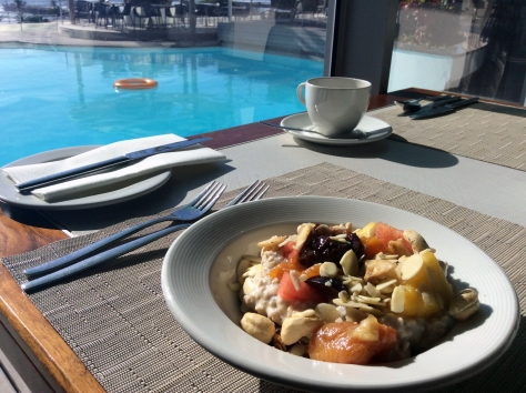 What a wonderful breakfast setting - on the second floor of the Elangeni. It's poolside, with a view of the beachfront just beyond the edge of the infinity pool.