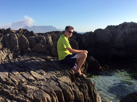 The first thing we did that evening was hit the beach, as Cape Town was the hottest city in the world that day, recording temps of 42' C in some places. Here is Husband at his favourite swimming spot...