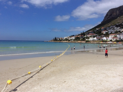 The shark net was out at Fish Hoek beach, so it was safe to swim