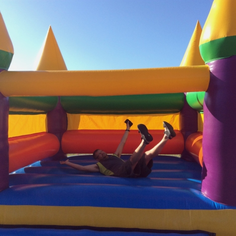Then Husband decided to show me he still has what it takes to bounce around a jumping castle