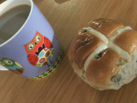 You know I ate this hot cross bun in the office as you can see my owlie mug jealously eye-ing it. Teehee.