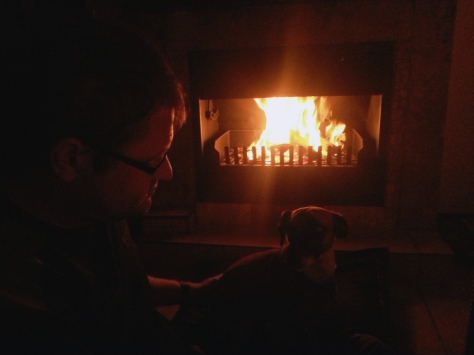 Bertie and his dad discussing the fire. We used the fireplace for the first time in this house during a nasty bout of loadshedding while a chilly wind blew. T'was marvelous.
