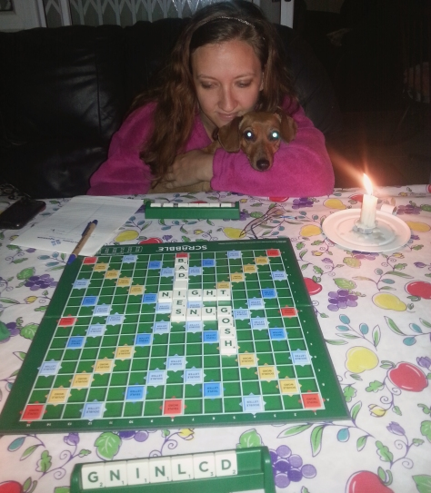 Candlelit Scrabble at the braai fire that night, as we were loadshed. Bassie helped me but we STILL lost to the Boys' team!