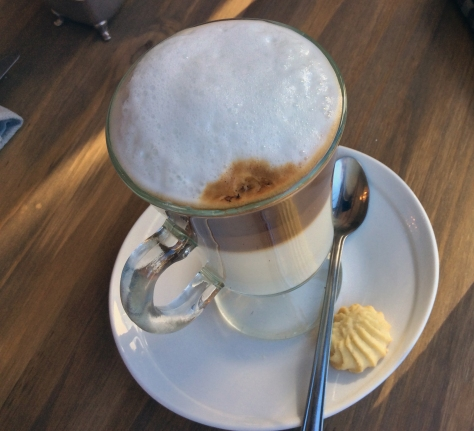 For me, a creme brulee-flavoured cafe latte, with a shortcake biscuit on the side. Yummer rummer.