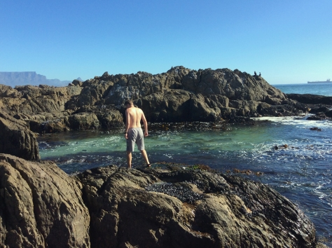 Of course Husband had a dip in his favourite sea spot
