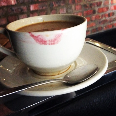 Wednesday was also #redmylips day, so I had to keep wiping my cup between sips - plus I overfilled it so spilled some into the saucer, as I do.
