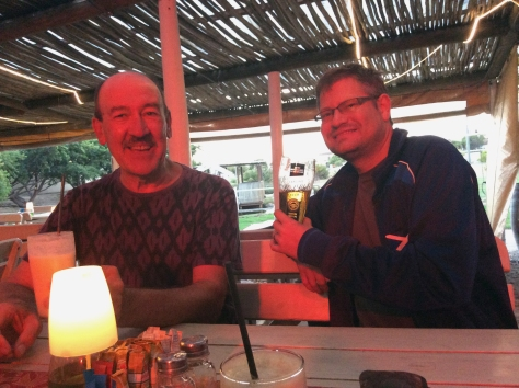 Dad and Husband with their 'long weekend at last' drinks at the Driftwood. Lighting made everything very pink in this shot. We were there for the Moroccan buffet, tis a good deal.