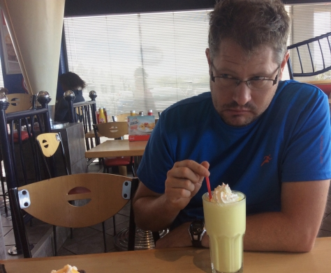 Caught in the act: Husband's Sunday afternoon large banana milkshake at our local Wimpy.