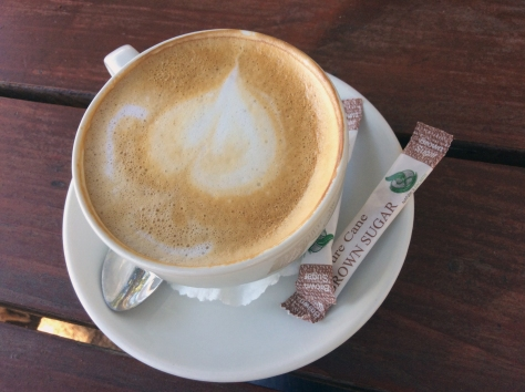A foam heart with halo things at the Ke Monate restaurant at Signal Gun along the Durbanville wine route. Couldn't start the day without it.