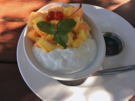 Finally there was food! This was my healthy option - plain yoghurt, honey, lots of fresh fruit and granola under it all