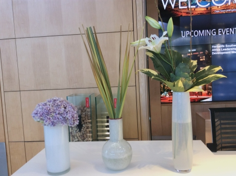 Whenever I'm at the CTICC I stop at their welcome desk to see their attractive flower display...
