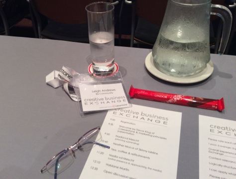 My desk for the day. Time flew as I scribbled notes and tweeted up a storm. Such a wonderful event!