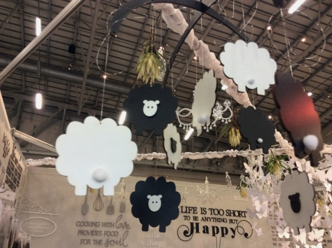 This 'black sheep' mobile in a word art-covered stand was another where I dawdled, gaping at all the pretty things.
