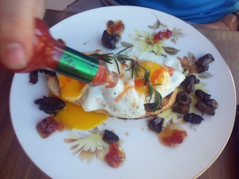Husband said his breakfast was just wonderful. At R30, it was an eggy-mushroomy-tomato jammy-rosemary-sprigged delight. Which he promptly Tabasco sauced to an inch of its life, of course.