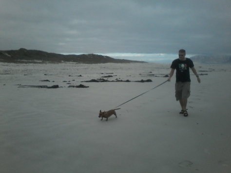 Husband and Bassie during our very wintery beach walk.