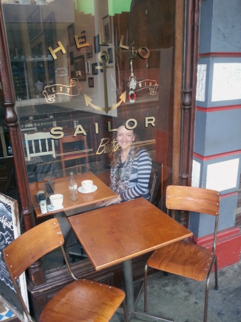 That's me, as seen through the window of Hello Sailor in Obz.