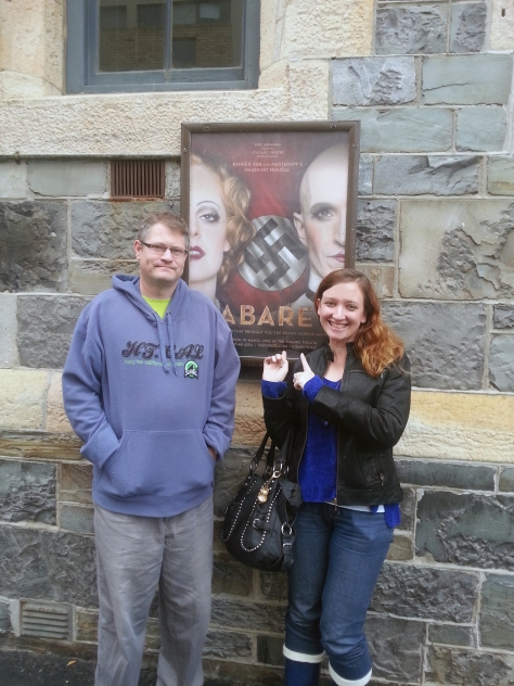 Husband and me outside the Fugard Theatre, where we watched my cousin act in Cabaret.