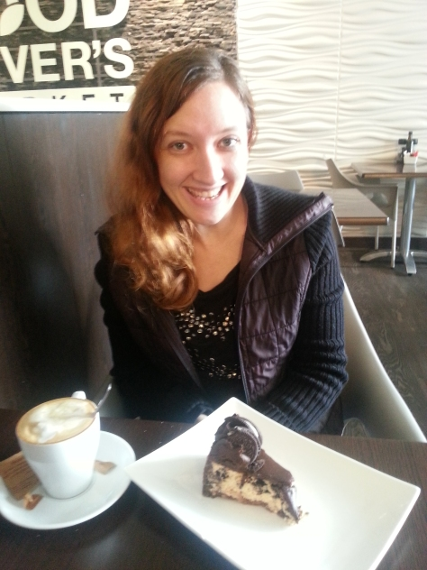 Sunday breakfast = the R30 cake and cappuccino special at Foodlover's Market. I had the Oreo cheesecake, my favourite.
