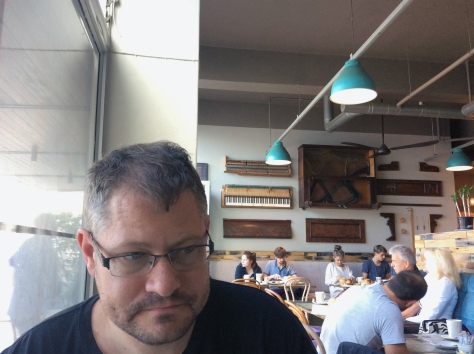 Yes, Husband is very photogenic, but the point of this photo was all the interesting wooden keyboards on the wall above his head at Euro Haus on Sunday morning. We were lucky to get a table.