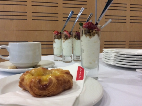 Delightful breakfast offering at the CTICC - custard pastries, muesli-yoghurt-berry shots and strong filter coffee, perfect for spilling in the saucer, as I do.